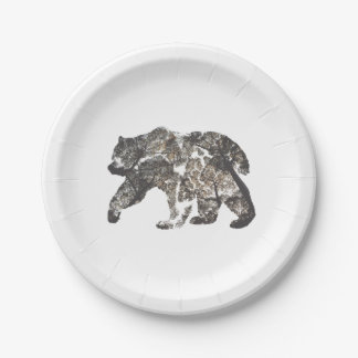 Bear Silhouette With Trees, Wild Nature Paper Plate