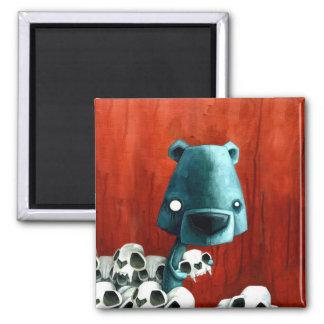 Bear skull 2 inch square magnet