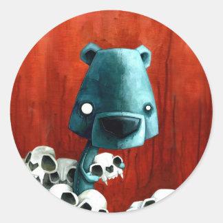 Bear skull classic round sticker