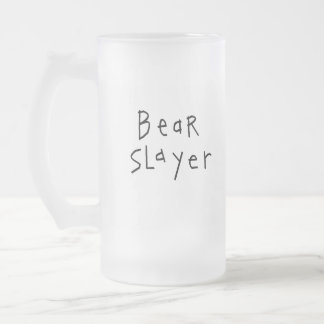 Bear Slayer Frosted Glass Beer Mug