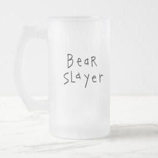 Bear Slayer Frosted Glass Beer Mug