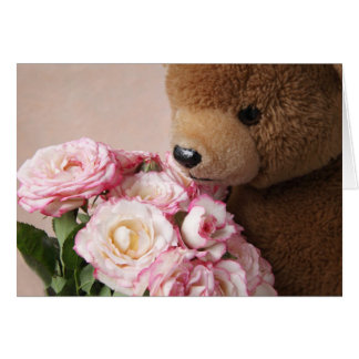 bear smelling roses greeting card