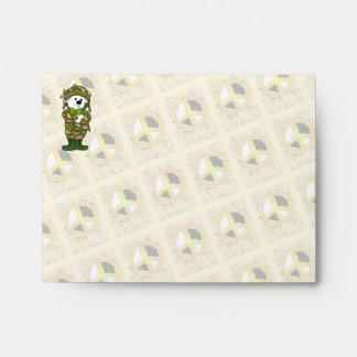 BEAR SOLDIER PEACE CARTOON A2 Note Card Envelope