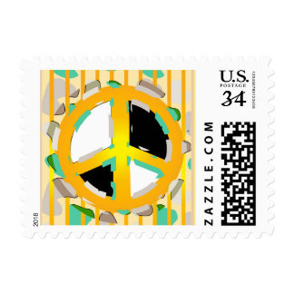 """BEAR SOLDIER PEACE  GREEN Small 1.8"""" x 1.3"""" Postage"""