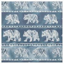 BEAR SPIRIT Navy Boho Tribal Pattern Fabric