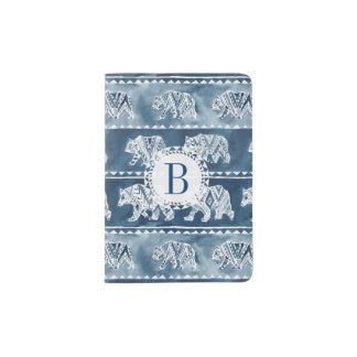BEAR SPIRIT Navy Boho Tribal Pattern Passport Holder