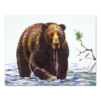 Bear Summer Cottage Camp Fishing Party Invitation