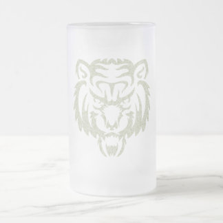 Bear Tattoo Frosted Glass Beer Mug