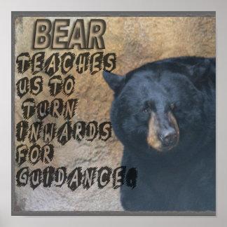 BEAR TOTEM TEACHING WIDSOM - TURN INWARDS POSTER