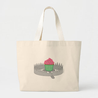 Bear Trap Cupcake Large Tote Bag