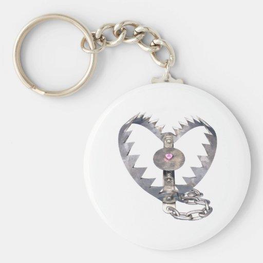 Bear Trap Heart Basic Round Button Keychain
