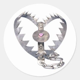 Bear Trap Heart Classic Round Sticker