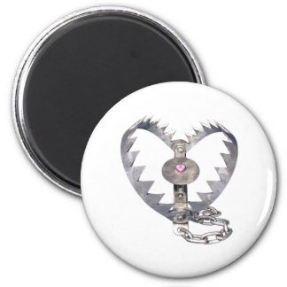 Bear Trap Heart 2 Inch Round Magnet