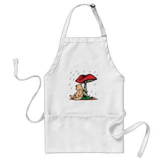 bear under mushroom adult apron