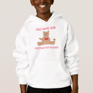 Bear Valentine Kid's Hooded Sweatshirt