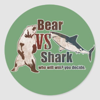 Bear vs. Shark. Who will win? you decide. Classic Round Sticker