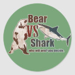 Bear vs. Shark. Who will win? you decide. Round Stickers