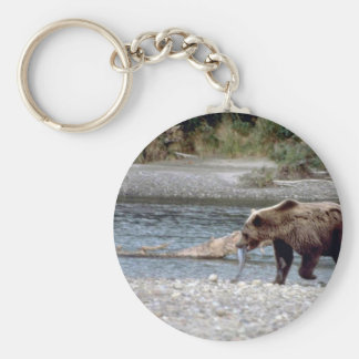 Bear W/ Fish In Mouth By Stream Basic Round Button Keychain