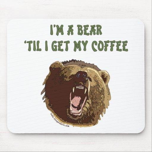 Bear Wants Coffee Mouse Pads