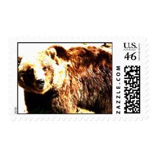 Bear Watercolor Postage Stamps