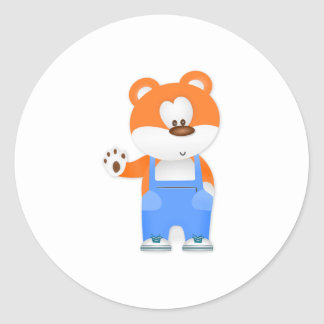 Bear Wearing Overalls Classic Round Sticker