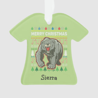 Bear Wildlife Merry Christmas Ugly Sweater Ornament