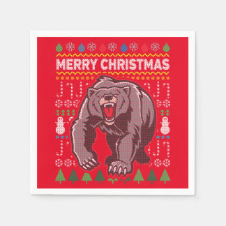 Bear Wildlife Merry Christmas Ugly Sweater Paper Napkin