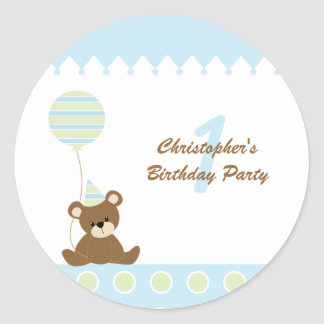 Bear with a balloon boys birthday party stickers