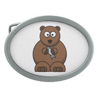 Bear with a fish cartoon belt buckles