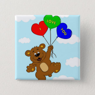 Bear with balloons in love cartoon kids button