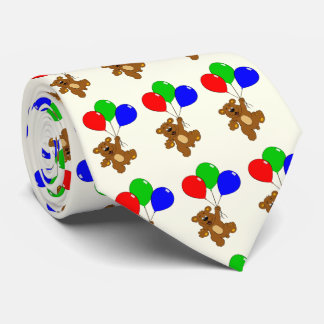 Bear with balloons kids neck tie