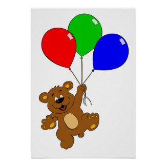 'Bear with balloons' kids poster