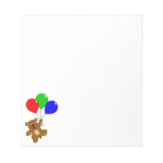 'Bear with balloons' notepad