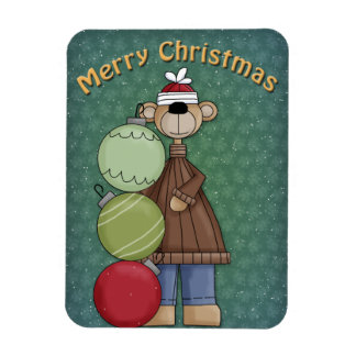 Bear with baubles rectangular photo magnet