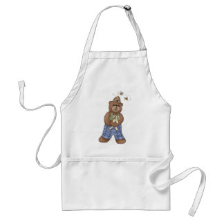 Bear with Bee Hat and Holding Bunny Adult Apron