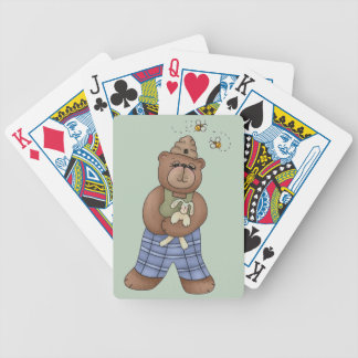 Bear with Bee Hat and Holding Bunny Bicycle Playing Cards