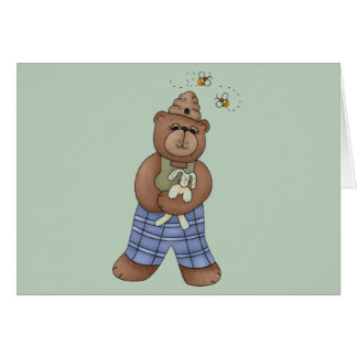 Bear with Bee Hat and Holding Bunny Card