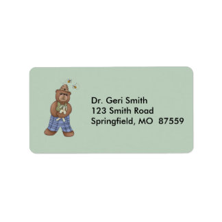 Bear with Bee Hat and Holding Bunny Label
