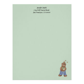 Bear with Bee Hat and Holding Bunny Letterhead