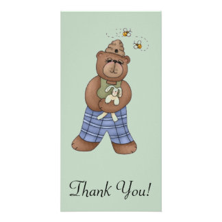 Bear with Bee Hat and Holding Bunny Photo Greeting Card