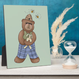 Bear with Bee Hat and Holding Bunny Plaque