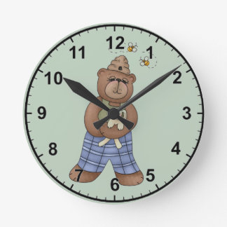Bear with Bee Hat and Holding Bunny Round Clock