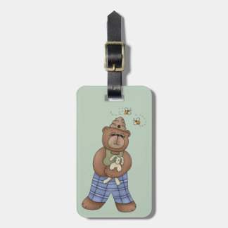 Bear with Bee Hat and Holding Bunny Tag For Luggage