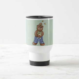 Bear with Bee Hat and Holding Bunny Travel Mug