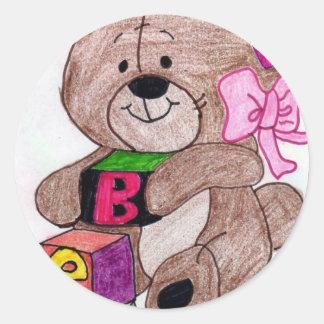 bear with blocks classic round sticker