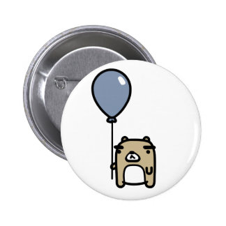 Bear With Blue Balloon Pinback Buttons