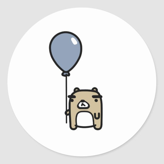 Bear With Blue Balloon Classic Round Sticker