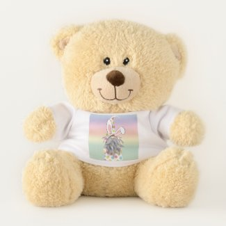 Bear with bunny gnome tee shirt