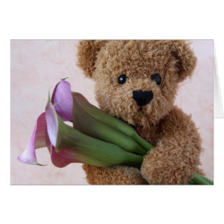 bear with calla lilies note card