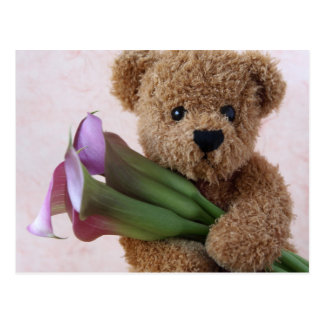 bear with calla lilies postcard